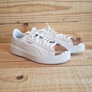 Puma Basket Platform Metallic White Rose Gold Shoe